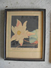 Vintage 1930s Watercolor Painting Myra Tyson Boyle Water Lily Flower