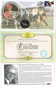GREAT BRITAIN / ISLE OF MAN - 1998 RACING COIN COVER SIGNED PETER O'SULLEVAN