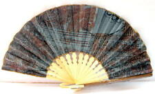 Handmade Batik Bamboo Folding Hand Fan Blue Brown (S) New