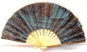 Handmade Batik Bamboo Folding Hand Fan Blue Brown (S) New