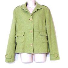 Banana Republic Lined Wool Blend Blazer Jacket Women Size L Green 4 Button