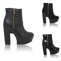 WOMENS BLACK CLEATED SOLE LADIES CHUNKY HIGH HEEL RIBBED ANKLE BOOTS SIZE 3-7