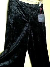 NWT Cynthia Rowley Lovely Black Velour Crushed Velvet Relaxed Leg Dress Pants 6