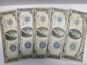 FIVE 1934 US $10 SILVER CERTIFICATE NOTES