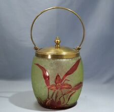 Baccarat French Olive Green & Red Cameo Etched Glass Biscuits Jar Circa 1900
