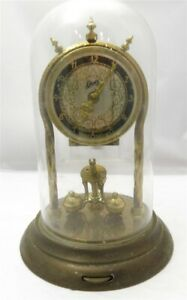 Vintage German Anniversary Clock With Brass & Glass Dome AS IS