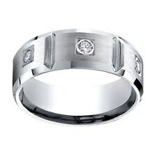 0.5 Ct Natural Diamond 8mm Comfort Fit 14K White Gold Wedding Band Ring Sz-5