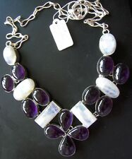 "12 Amethyst & 6 Moonstone Silver plate Bib Necklace 20"" psychic dreams intuition"