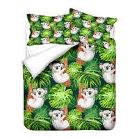 Tropical Animal Koala Tiger Monstera Leaves Bedding Duvet Quilt Cover Set Gift