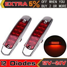 2 Pack Red 12 LED Waterproof Side Marker Light Fish Shape Truck Trailer 12V-24V