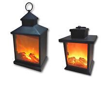 Metall LED Laterne mit künstlichem Feuer Flamme Deko Kaminfeuer Lampe mit Timer