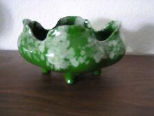 Vintage Green Decorative Glazed Ceramic Pottery Dish Bowl w/Feet&Fluted Edge-New