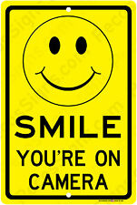 Smile You're on Camera Sign Yellow Business Video Security Signs Aluminum-metal