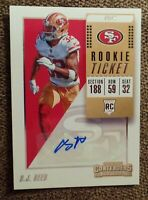 2-2018 Contenders D.J. Reed Rookie Ticket Variation Auto RC SAN FRANCISCO 49ERS
