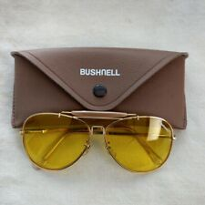 Vtg Bushnell Shooting Glasses Aviator Yellow Lens 63mm w/ Orig Case Nice Cond