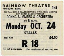Donna Summer Rainbow Theatre, London 24/10/77 Ticket