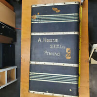 Steamer Trunk Travel Chest Blue Hard Shell with Key Vintage