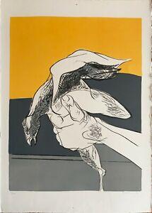 Salvatore Provino litografia 1972 Civiltà e No 70x50 firmata numerata 6/100