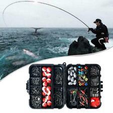 263pcs Fishing Gadget Set Box Hook Fish Hook Bait Box Lead Sinker Set Buoy G2O6