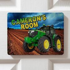 Personalised Green Tractor Children's Bedroom Door Kids Name Sign Plaque DPE32