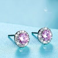 925 silver stud made with pink Swarovski crystal round earrings 0.5ct 8mm