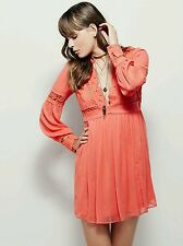 NEW Free People Coral In Dreamland Mini Dress Size XS Retails for  $168