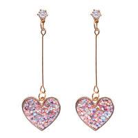 Women Crystal Pink Heart Long Drop Dangle Earrings Ear Studs Jewelry G np
