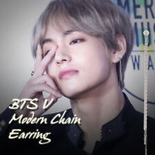 BTS V Modern Chain Three Line Earring Kpop Style Hot Item Made In Korea 1Piece