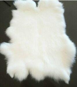 1PCS WHITE Rabbit Skin Real Fur Pelt for Animal Training Crafts Fly Tying LARP