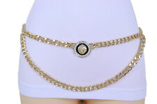 Women Nigh Club Fashion Belt Gold Metal Chain Wave Lion Charm Bling Size XS S M