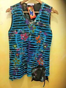 New Ladies Tie Dye Razor Cut  Boho Top Size 12 to 14