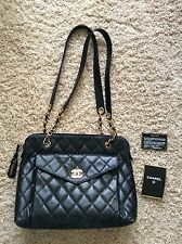 Authentic CHANEL Black Gold Grand Shopper Caviar Quilted Leather Large Tote Bag