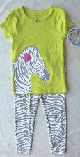 Carter's Baby Girl Lime/Grey Zebra T-Shirt/Pant Pajama Set 18 Months NWT G82418
