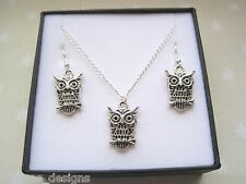 CUTE WISE OWL Gift Set Necklace & Earrings SP GIFT BOX