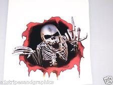 """Rip Threw Finger Skull 10"""" x 10""""  Window Decal Decals Trailer Sticker Skulls"""