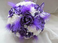 STUNNING PURPLE & WHITE FEATHER AND BUTTERFLY HANDTIED BRIDAL / WEDDING BOUQUET