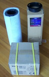 """HYDROPONIC TENT EXHAUST FAN w CAN-LITE ACTIVATED CARBON FILTER 125mm 5"""" CAN"""