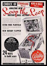 1966 Bally Loop the Loop pinball machine photo vintage trade print ad