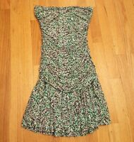 BCBG MAX AZARIA Size 4 Green Brown Blue Floral Strapless Ruched Skater Dress