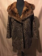 Vintage Broadtail Lamb Fur Coat With Sable Collar Size 6-8P