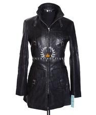Lauren Black Ladies Smart Military Designer Real Lambskin Leather Fashion Jacket