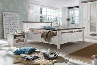 Holzbett Bettgestell Doppelbett Teilmassiv Pinie Bett LUGANO 160x200 weiss taupe