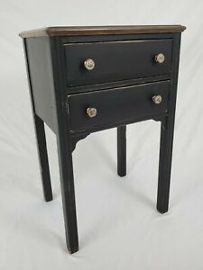 Vintage Sewing Table Thread Cabinet Nightstand Two Drawer Federal