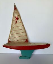 Vintage Toy Sailboat, Yacht, Red & Blue, Striped, Wood & Metal