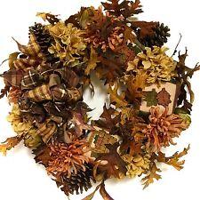 Hydrangea Wreath Fall Silk Floral Thanksgiving Rust Gold Orange Brown IN/OUTDOOR