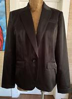 Black Satin jacket size 14 cocktail Apostrophe lined blazer evening tuxedo style