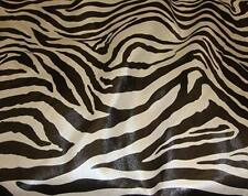 """Zebra Faux Vinyl Black and White Upholstery Fabric Per Yard 54"""" Wide Bty"""