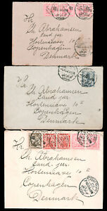 EGYPT THREE COVERS 1922-23 FROM PORT TAUFIQ TO DENMARK all with 15m frankings in