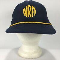 Vintage NRA Mesh Snapback Trucker Hat Cap Blue Gold Made in USA 1980s Adjustable