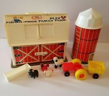 Vintage Fisher Price Play Family Farm Silo Tractor Animals Trough